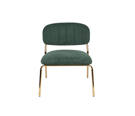 LEF collections Fauteuil Vinny donker groen goud polyester staal 56x60x68cm