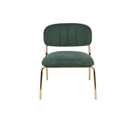 LEF collections Sessel Vinny dunkelgrüner Gold Polyester Stahl 56x60x68cm