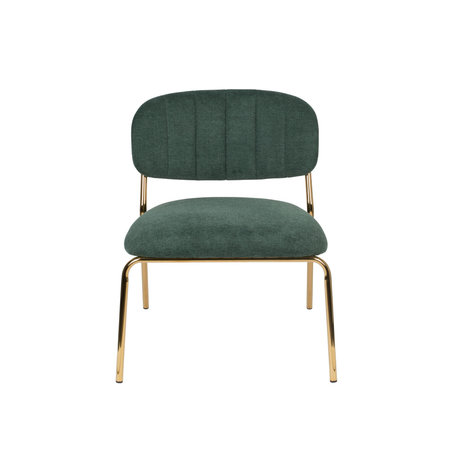 LEF collections Armchair Vinny dark green gold polyester steel 56x60x68cm