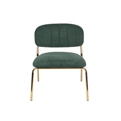 LEF collections Fauteuil Vinny en acier polyester vert foncé or 56x60x68cm