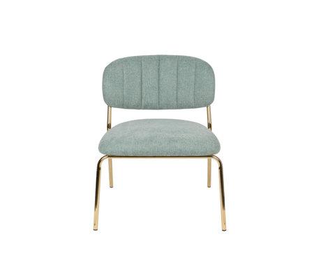 LEF collections Fauteuil Vinny en acier polyester vert clair or 56x60x68cm