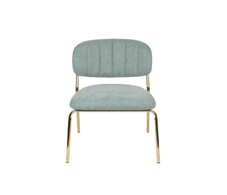 LEF collections Fauteuil Vinny licht groen goud polyester staal 56x60x68cm