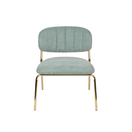 LEF collections Armchair Vinny light green gold polyester steel 56x60x68cm