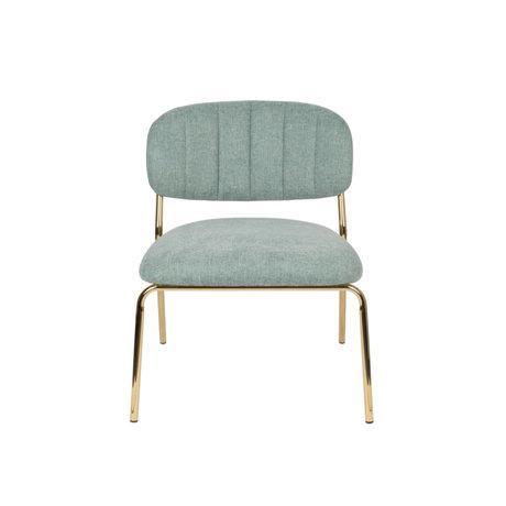 LEF collections Sessel Vinny hellgrüner Gold Polyester Stahl 56x60x68cm