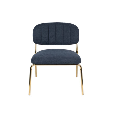 LEF collections Fauteuil Vinny donker blauw goud polyester staal 56x60x68cm