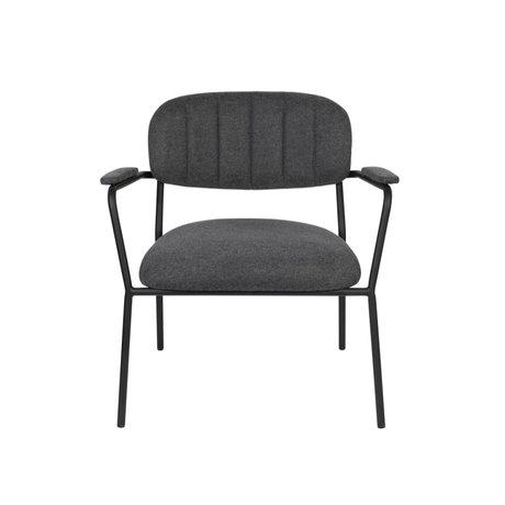 LEF collections Fauteuil Vinny avec accoudoir gris foncé acier polyester noir 56x60x68cm