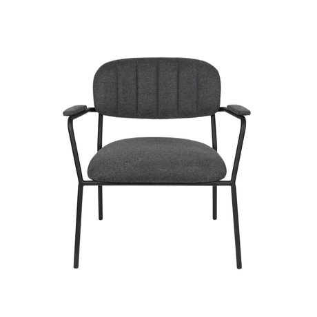 LEF collections Fauteuil Vinny met armleuning donker grijs zwart polyester staal 56x60x68cm