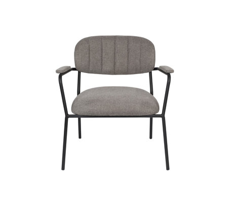 LEF collections Armchair Vinny with armrest gray black polyester steel 56x60x68cm