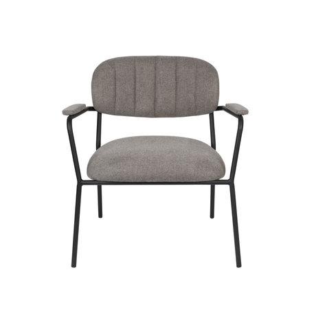 LEF collections Fauteuil Vinny met armleuning grijs zwart polyester staal 56x60x68cm