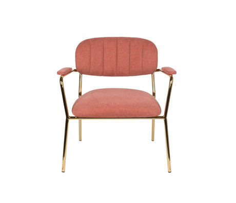 LEF collections Armchair Vinny with armrest pink gold polyester steel 56x60x68cm