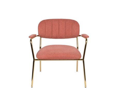 LEF collections Fauteuil Vinny avec accoudoir or rose polyester acier 56x60x68cm