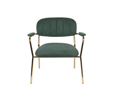 LEF collections Armchair Vinny with armrest dark green gold polyester steel 56x60x68cm