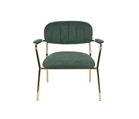 LEF collections Sessel Vinny mit Armlehne aus dunkelgrünem Gold Polyester Stahl 56x60x68cm