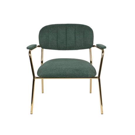 LEF collections Fauteuil Vinny met armleuning donker groen goud polyester staal 56x60x68cm