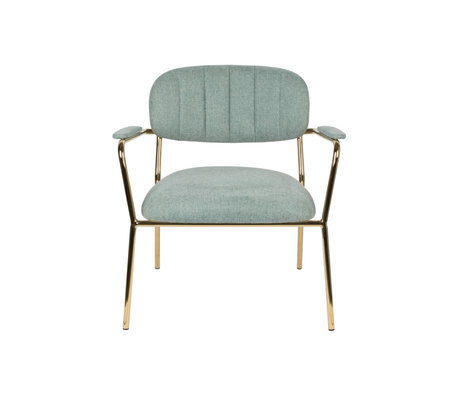 LEF collections Armchair Vinny with armrest light green gold polyester steel 56x60x68cm