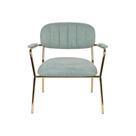 LEF collections Fauteuil Vinny avec accoudoir en acier polyester vert clair or 56x60x68cm