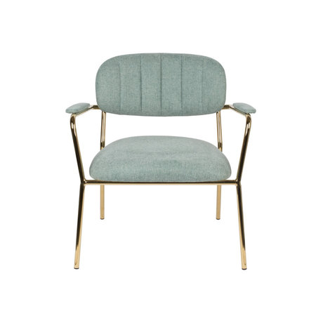 LEF collections Fauteuil Vinny met armleuning licht groen goud polyester staal 56x60x68cm