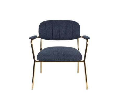 LEF collections Fauteuil Vinny avec accoudoir en acier polyester bleu foncé or 56x60x68cm