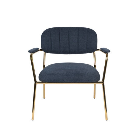 LEF collections Fauteuil Vinny met armleuning donker blauw goud polyester staal 56x60x68cm