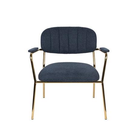 LEF collections Sessel Vinny mit Armlehne dunkelblau Gold Polyester Stahl 56x60x68cm