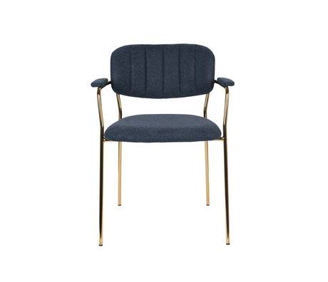 LEF collections Dining room chair Vinny with armrest dark blue gold polyester steel 60.5x57x79cm