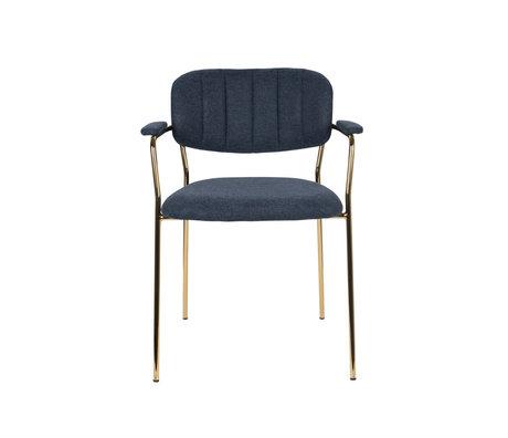 LEF collections Eetkamerstoel Vinny met armleuning donker blauw goud polyester staal 60,5x57x79cm
