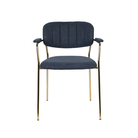 LEF collections Chaise de salle à manger Vinny avec accoudoir en acier polyester bleu foncé 60.5x57x79cm