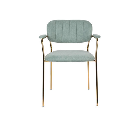 LEF collections Dining room chair Vinny with armrest light green gold polyester steel 60.5x57x79cm