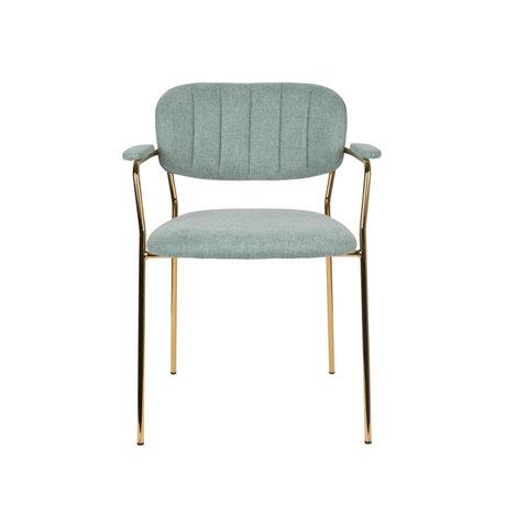 LEF collections Chaise de salle à manger Vinny avec accoudoir en acier polyester vert clair or 60.5x57x79cm
