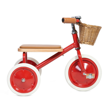 Banwood Vélo enfant Trike rouge acier bois 45x35x63cm