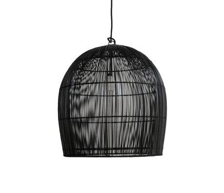 Ay Illuminate Hanglamp Buri Bulb XS zwart hout Ø44x45cm
