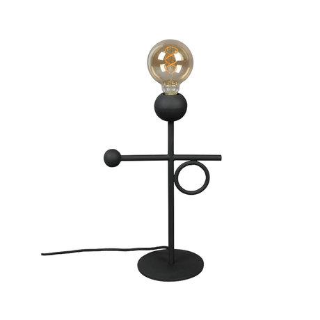 Dutchbone Tafellamp Loyd zwart gepoedercoat ijzer 25x15,5x40cm