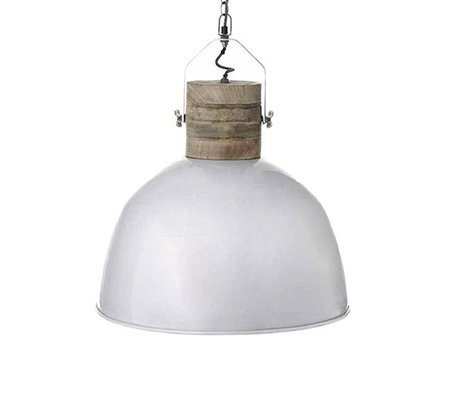 LEF collections Hanglamp Nordic L weiß braun Aluminium Holz ∅49x55cm