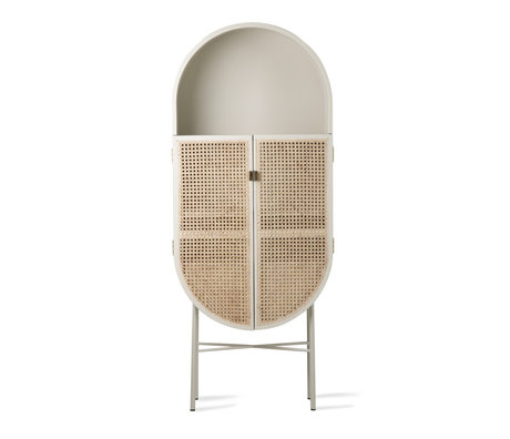 HK-living Schrank Retro ovales hellgraues Rattanholz 65x30x160cm