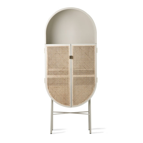 HK-living Armoire Rétro ovale bois de rotin gris clair 65x30x160cm