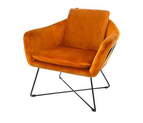 Riverdale Armchair Ridge orange polyester 77x77x74cm