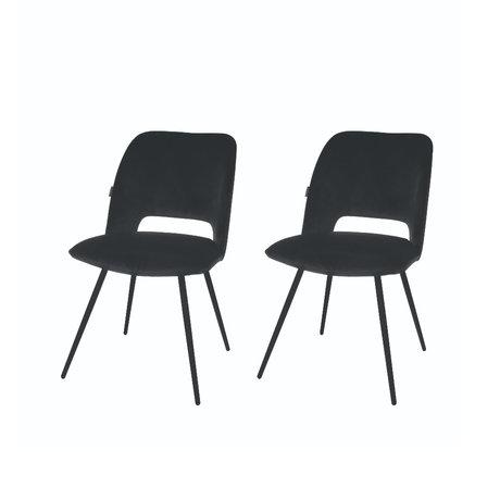 Riverdale Chaise de salle à manger Elja set de 2 polyester noir 58x48x82cm