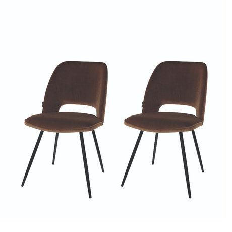 Riverdale Chaise de salle à manger Elja set de 2 polyester marron moka 58x48x82cm