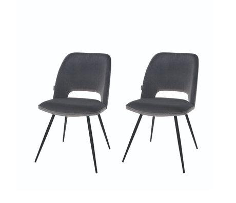 Riverdale Chaise de salle à manger Elja set de 2 polyester gris 58x48x82cm