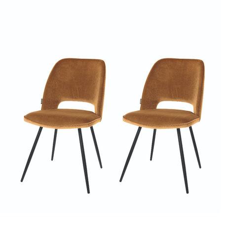 Riverdale Chaise de salle à manger Elja polyester marron caramel 58x48x82cm