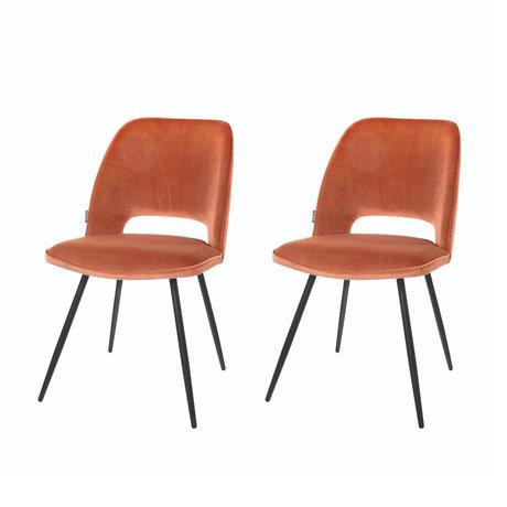 Riverdale Chaise de salle à manger Elja polyester marron orange 58x48x82cm