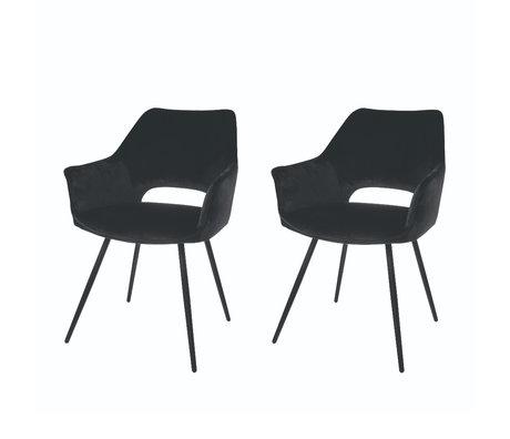 Riverdale Chaise de salle à manger Eve set de 2 polyester noir 60x55x80cm
