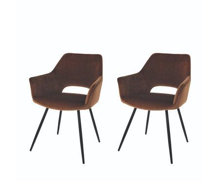 Riverdale Chaise de salle à manger Eve set de 2 polyester marron moka 60x55x80cm