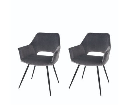 Riverdale Dining room chair Eve set of 2 gray polyester 60x55x80cm
