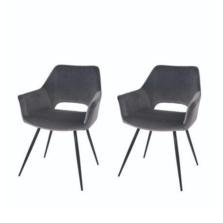 Riverdale Chaise de salle à manger Eve set de 2 polyester gris 60x55x80cm