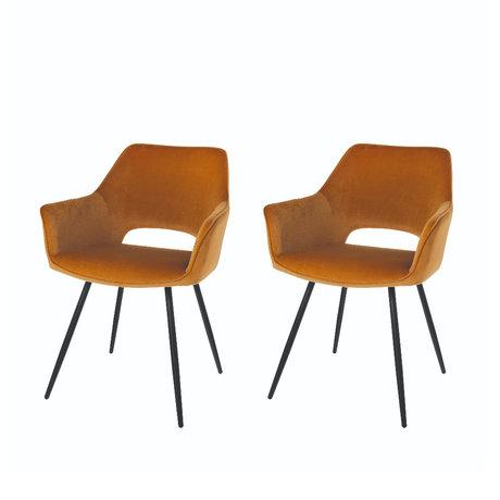 Riverdale Chaise de salle à manger Eve set de 2 polyester marron caramel 60x55x80cm