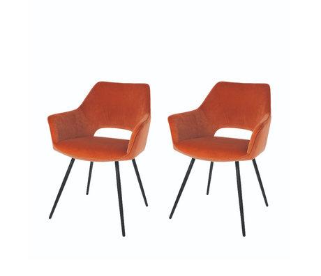 Riverdale Eetkamerstoel Eve set van 2 oranje bruin polyester 60x55x80cm