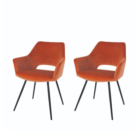Riverdale Dining room chair Eve set of 2 orange brown polyester 60x55x80cm