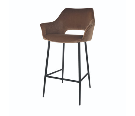 Riverdale Bar stool Eve mocha brown polyester 56x56x98cm