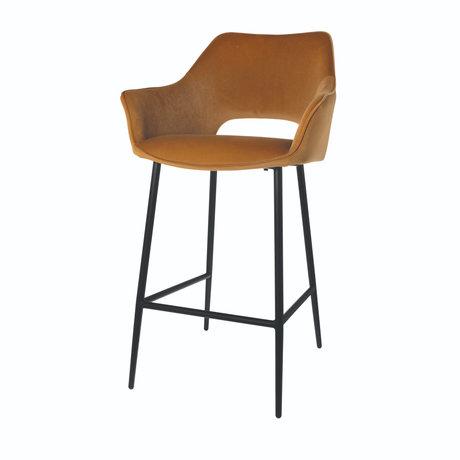 Riverdale Bar stool Eve caramel brown polyester 56x56x98cm